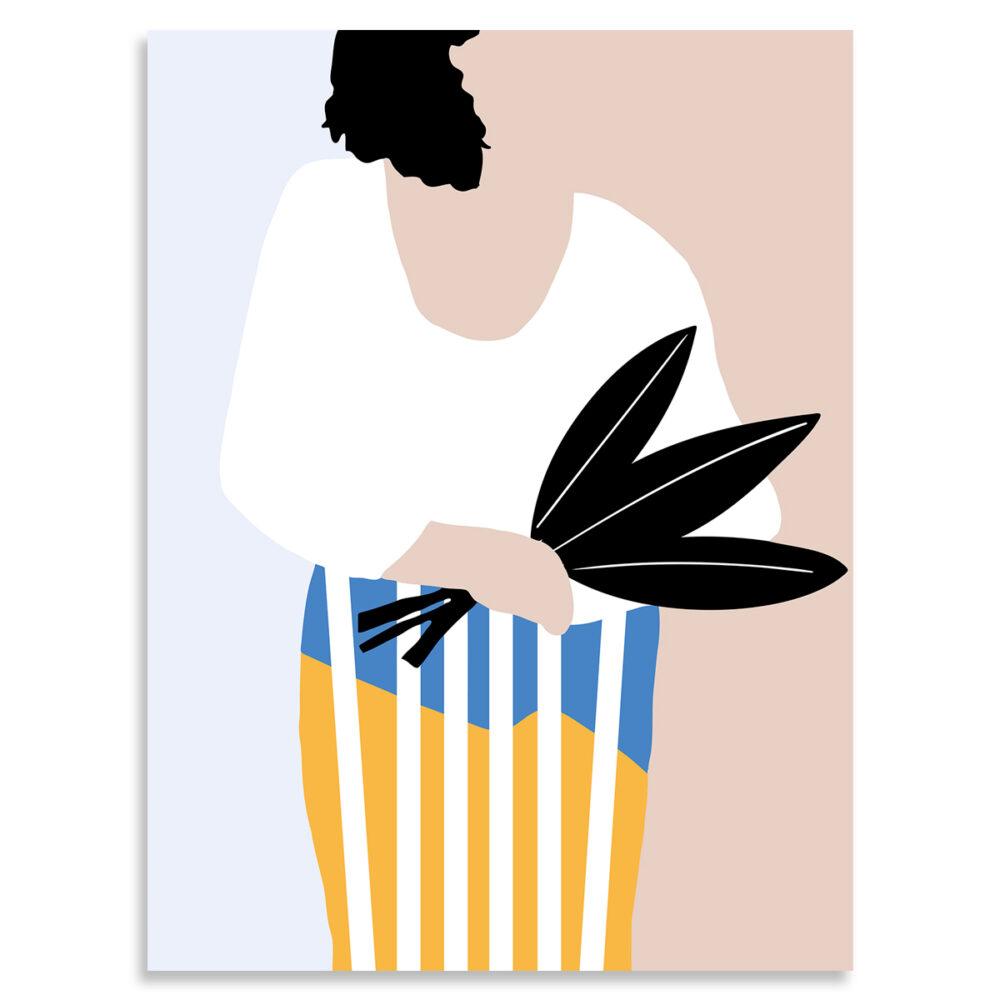 Affiche femme au bouquet
