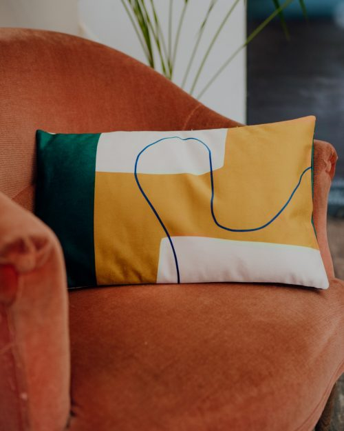Coussin rectangulaire en velours graphique, Made in France