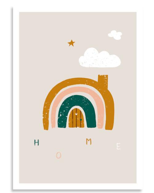 affiche maison arc en ciel