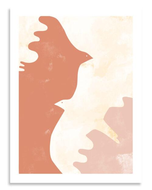 Affiche les oiseaux d'etretat terracotta
