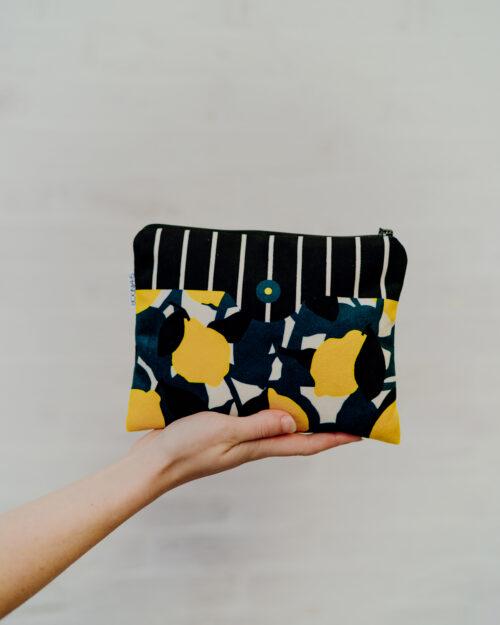 pochette trousse en velours citron, Made in France