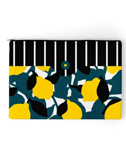 pochette en velours jaune citron made in france